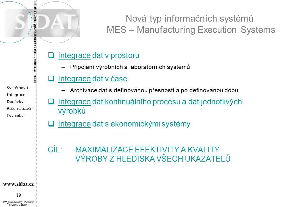 Systémová Integrace Dodávky Automatizační Techniky 19 www.sidat.cz 0205_Manufacturing Execution Systems_CZE.ppt Nová typ informačních systémů MES – Ma