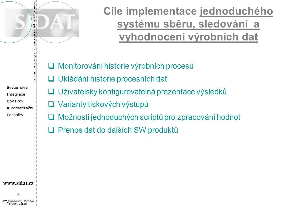 Systémová Integrace Dodávky Automatizační Techniky 4 www.sidat.cz 0205_Manufacturing Execution Systems_CZE.ppt Cíle implementace jednoduchého systému sběru, sledování a vyhodnocení výrobních dat  Monitorování historie výrobních procesů  Ukládání historie procesních dat  Uživatelsky konfigurovatelná prezentace výsledků  Varianty tiskových výstupů  Možnosti jednoduchých scriptů pro zpracování hodnot  Přenos dat do dalších SW produktů