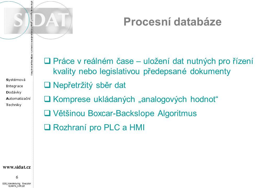 """Systémová Integrace Dodávky Automatizační Techniky 6 www.sidat.cz 0205_Manufacturing Execution Systems_CZE.ppt Procesní databáze  Práce v reálném čase – uložení dat nutných pro řízení kvality nebo legislativou předepsané dokumenty  Nepřetržitý sběr dat  Komprese ukládaných """"analogových hodnot  Většinou Boxcar-Backslope Algoritmus  Rozhraní pro PLC a HMI"""