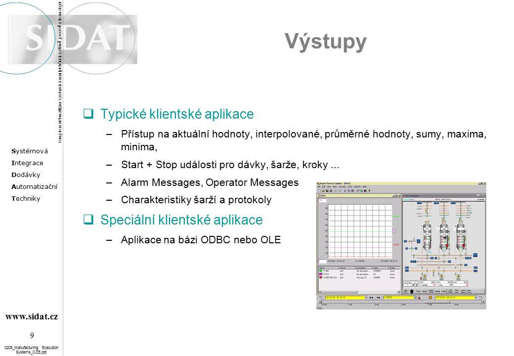 Systémová Integrace Dodávky Automatizační Techniky 9 www.sidat.cz 0205_Manufacturing Execution Systems_CZE.ppt Výstupy  Typické klientské aplikace –P