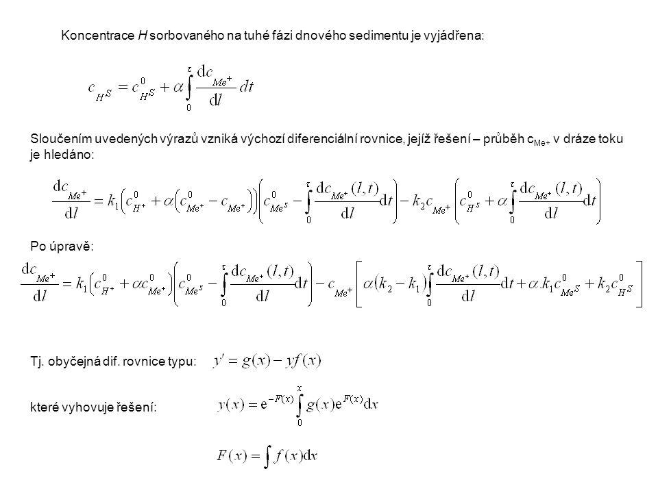 Sloučením uvedených výrazů vzniká výchozí diferenciální rovnice, jejíž řešení – průběh c Me+ v dráze toku je hledáno: Po úpravě: Tj.