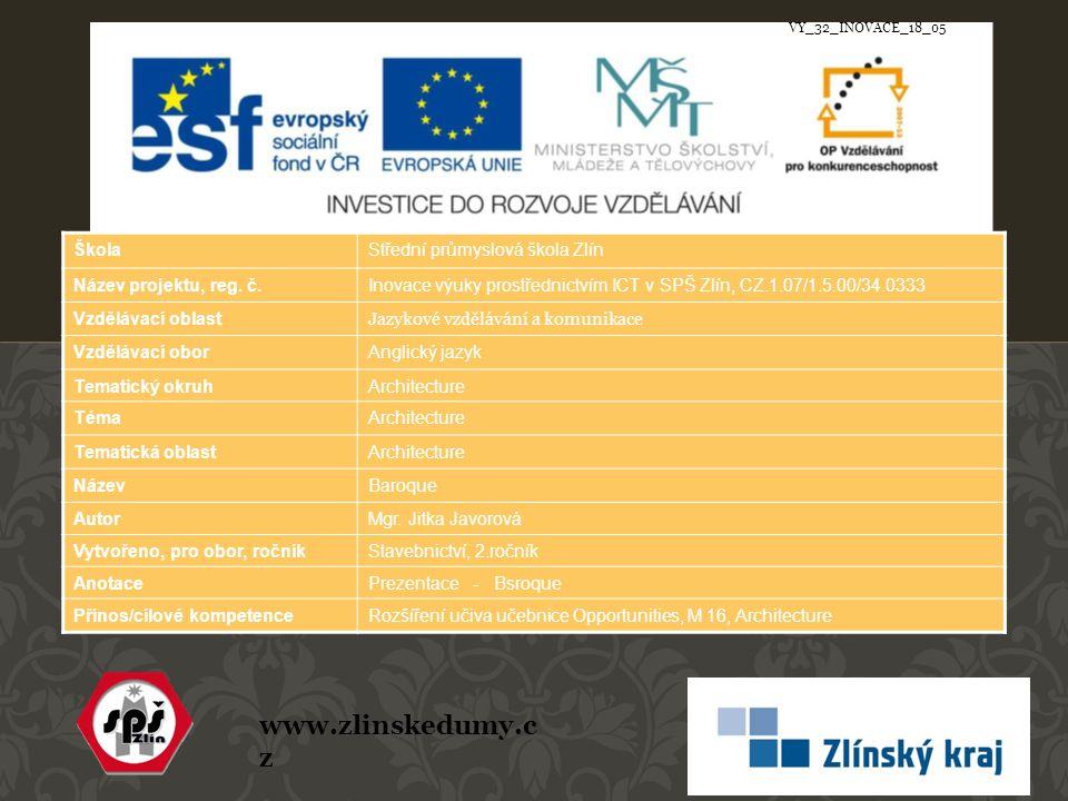 www.zlinskedumy.c z ŠkolaStřední průmyslová škola Zlín Název projektu, reg.
