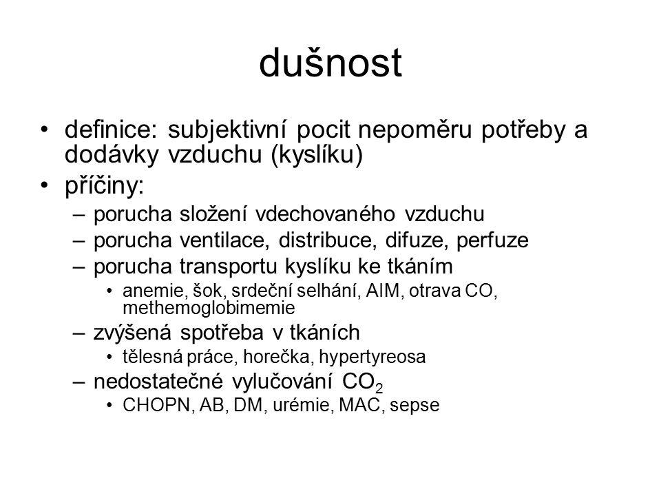 dušnost definice: subjektivní pocit nepoměru potřeby a dodávky vzduchu (kyslíku) příčiny: –porucha složení vdechovaného vzduchu –porucha ventilace, di