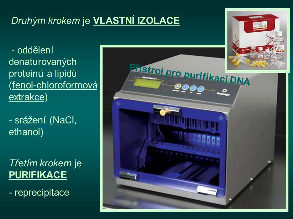 Druhým krokem je VLASTNÍ IZOLACE Třetím krokem je PURIFIKACE - reprecipitace Přístroj pro purifikaci DNA - oddělení denaturovaných proteinů a lipidů (