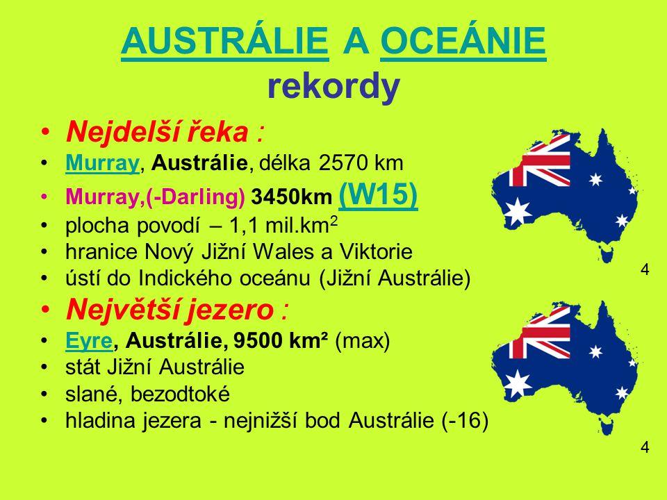 AUSTRÁLIEAUSTRÁLIE A OCEÁNIE rekordyOCEÁNIE Nejdelší řeka : Murray, Austrálie, délka 2570 kmMurray Murray,(-Darling) 3450km (W15) (W15) plocha povodí – 1,1 mil.km 2 hranice Nový Jižní Wales a Viktorie ústí do Indického oceánu (Jižní Austrálie) Největší jezero : Eyre, Austrálie, 9500 km² (max)Eyre stát Jižní Austrálie slané, bezodtoké hladina jezera - nejnižší bod Austrálie (-16) 4 4