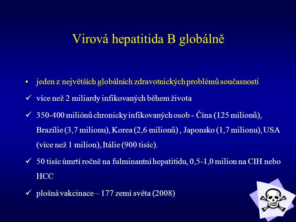 Virová hepatitida B globálně jeden z největších globálních zdravotnických problémů současnosti více než 2 miliardy infikovaných během života 350-400 m