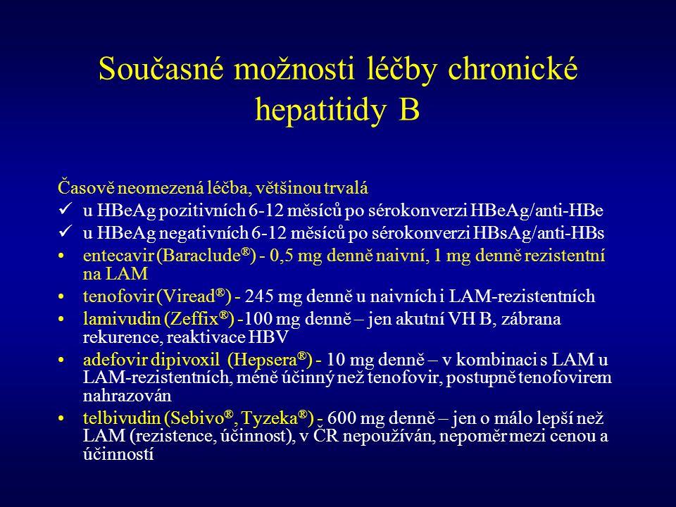 Současné možnosti léčby chronické hepatitidy B Časově neomezená léčba, většinou trvalá u HBeAg pozitivních 6-12 měsíců po sérokonverzi HBeAg/anti-HBe