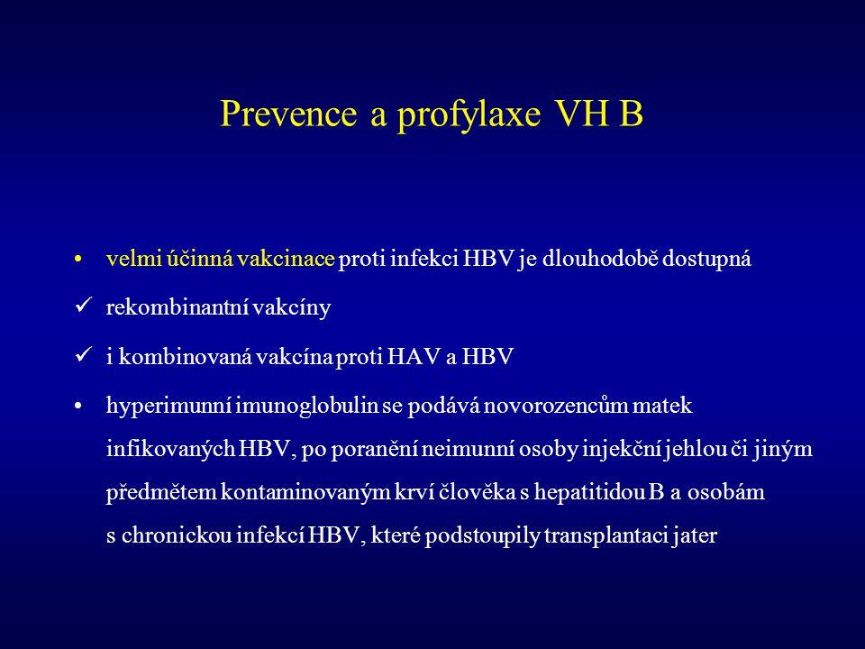 Prevence a profylaxe VH B velmi účinná vakcinace proti infekci HBV je dlouhodobě dostupná rekombinantní vakcíny i kombinovaná vakcína proti HAV a HBV