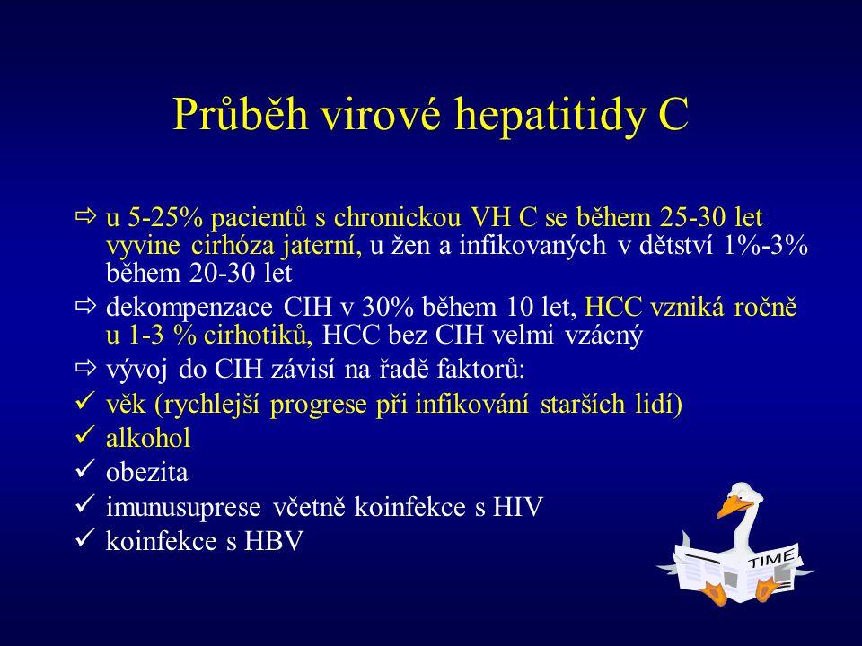 Průběh virové hepatitidy C  u 5-25% pacientů s chronickou VH C se během 25-30 let vyvine cirhóza jaterní, u žen a infikovaných v dětství 1%-3% během