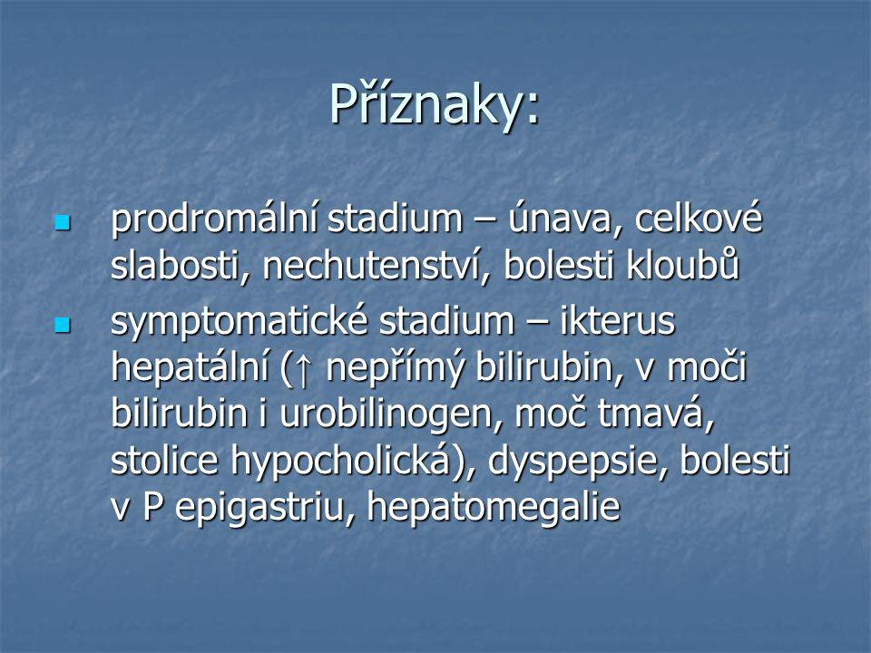 Příznaky: prodromální stadium – únava, celkové slabosti, nechutenství, bolesti kloubů prodromální stadium – únava, celkové slabosti, nechutenství, bol