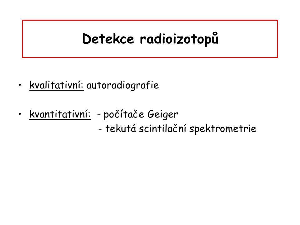 Detekce radioizotopů kvalitativní: autoradiografie kvantitativní: - počítače Geiger - tekutá scintilační spektrometrie