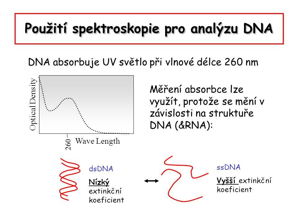 Použití spektroskopie pro analýzu DNA DNA absorbuje UV světlo při vlnové délce 260 nm Optical Density Wave Length 260 Měření absorbce lze využít, prot