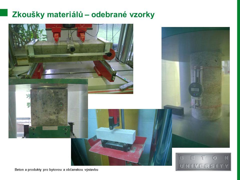 Zkoušky materiálů – odebrané vzorky Beton a produkty pro bytovou a občanskou výstavbu