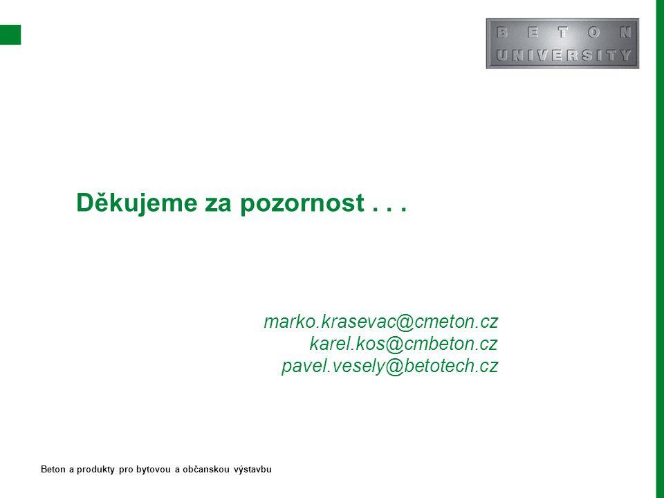 Děkujeme za pozornost... marko.krasevac@cmeton.cz karel.kos@cmbeton.cz pavel.vesely@betotech.cz Beton a produkty pro bytovou a občanskou výstavbu