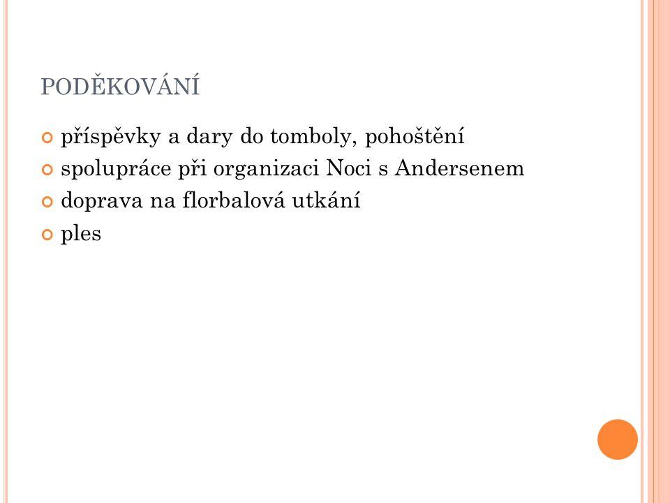 PODĚKOVÁNÍ příspěvky a dary do tomboly, pohoštění spolupráce při organizaci Noci s Andersenem doprava na florbalová utkání ples