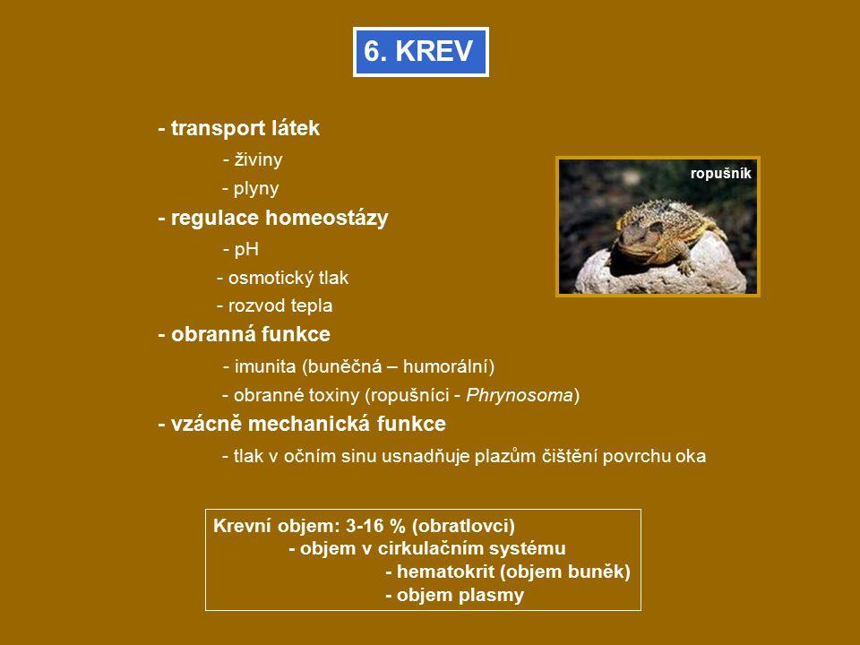 6. KREV - transport látek - živiny - plyny - regulace homeostázy - pH - osmotický tlak - rozvod tepla - obranná funkce - imunita (buněčná – humorální)