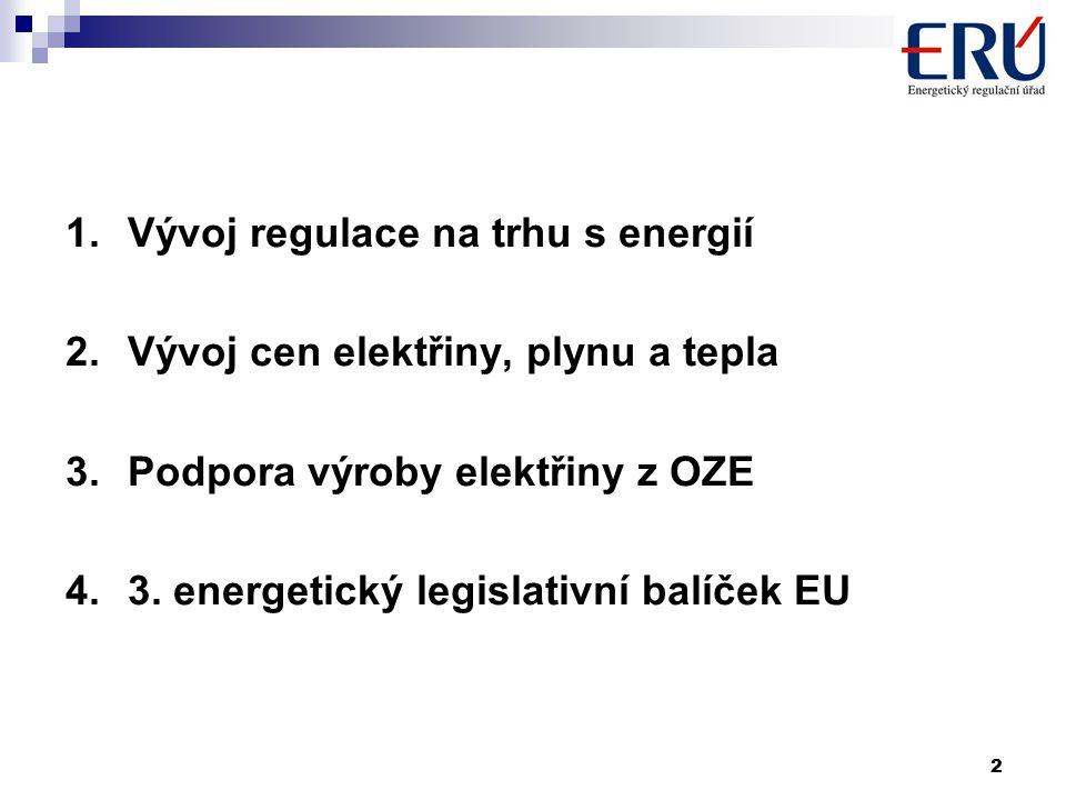 3 1.Vývoj regulace na trhu s energií  k otevření vnitřních trhů s elektřinou a plynem došlo dle směrnic EU od 1.