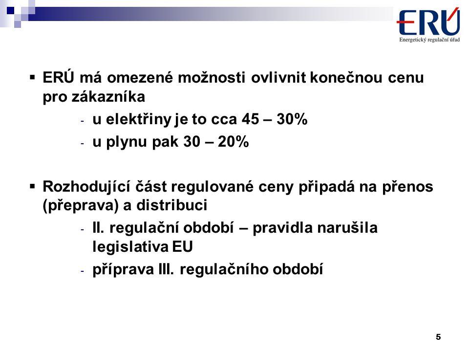 5  ERÚ má omezené možnosti ovlivnit konečnou cenu pro zákazníka - u elektřiny je to cca 45 – 30% - u plynu pak 30 – 20%  Rozhodující část regulované ceny připadá na přenos (přeprava) a distribuci - II.