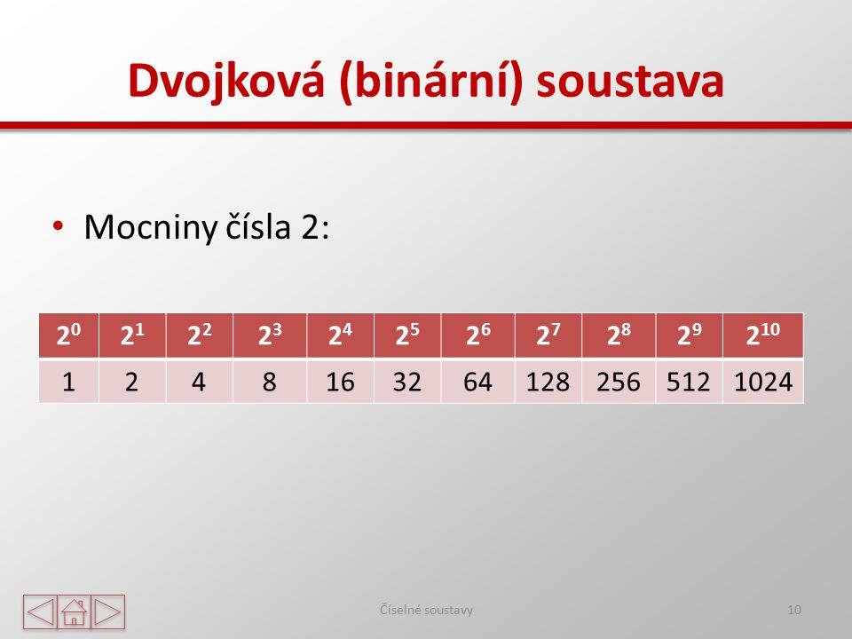 Dvojková (binární) soustava Mocniny čísla 2: Číselné soustavy10 2020 21212 2323 2424 2525 2626 2727 2828 2929 2 10 12481632641282565121024