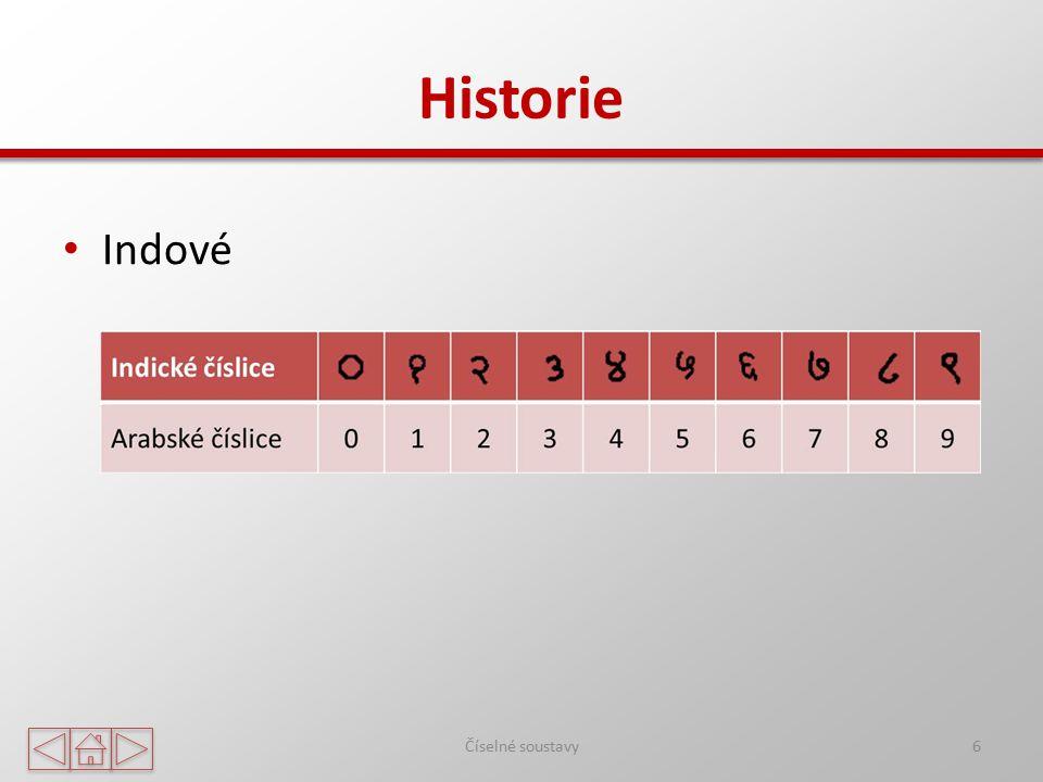 Historie Římské číslice 7 IVXLCDMIVXLCDM 1 5 10 50 100 500 1000 Římané obvykle psali: – číslo 4 jako IIII, – číslo 40 jako XXXX, – číslo 999 jako DCCCCLXXXXVIIII.