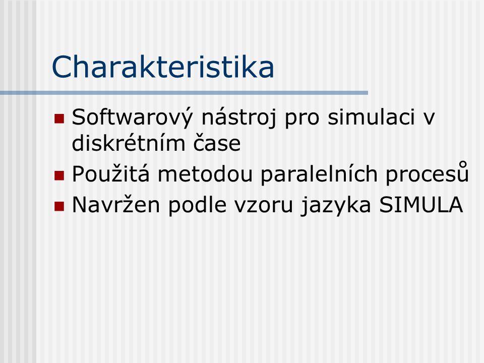Charakteristika Softwarový nástroj pro simulaci v diskrétním čase Použitá metodou paralelních procesů Navržen podle vzoru jazyka SIMULA