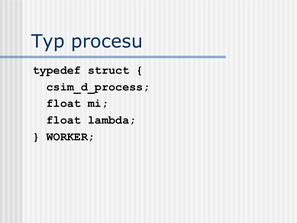 Typ procesu typedef struct { csim_d_process; float mi; float lambda; } WORKER;