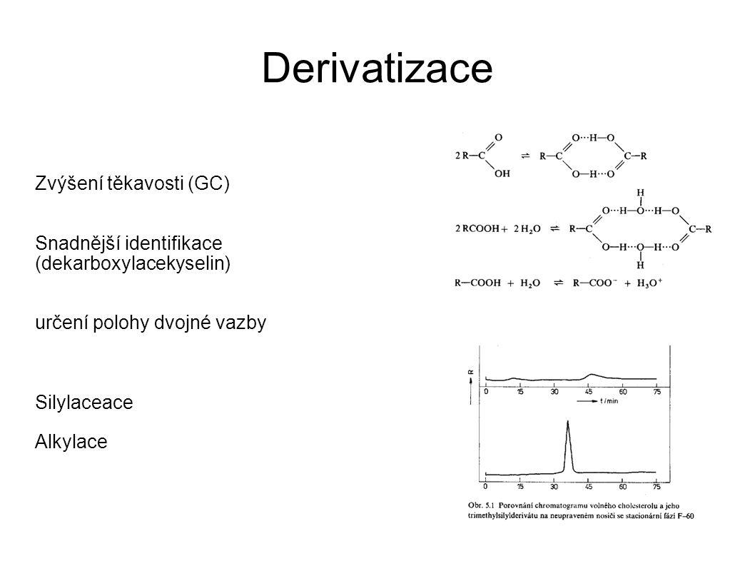 Derivatizace Zvýšení těkavosti (GC) Snadnější identifikace (dekarboxylacekyselin) určení polohy dvojné vazby Silylaceace Alkylace