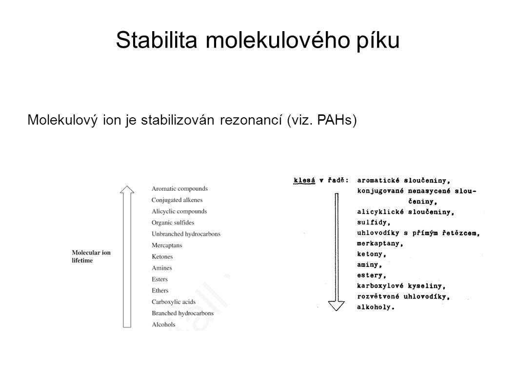 Stabilita molekulového píku Molekulový ion je stabilizován rezonancí (viz. PAHs)