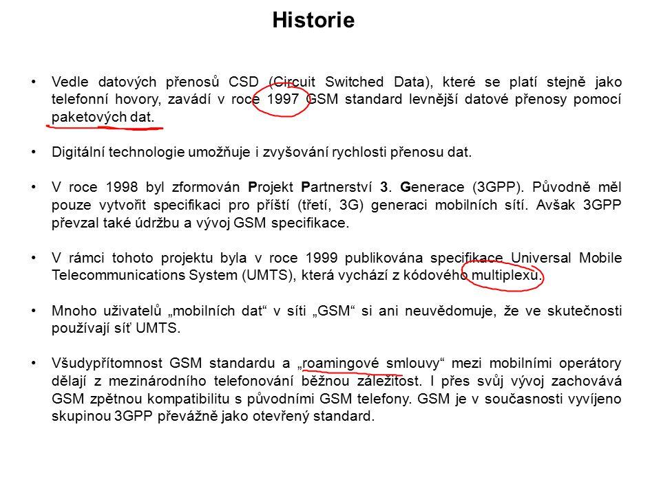 Vedle datových přenosů CSD (Circuit Switched Data), které se platí stejně jako telefonní hovory, zavádí v roce 1997 GSM standard levnější datové přeno