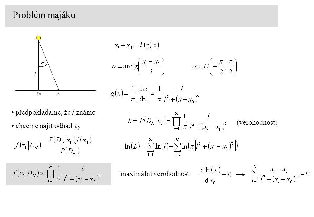 Problém majáku předpokládáme, že l známe  x0x0 xixi l chceme najít odhad x 0 (věrohodnost) maximální věrohodnost