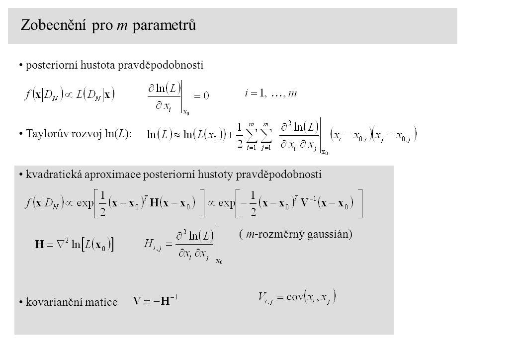 kvadratická aproximace posteriorní hustoty pravděpodobnosti ( m-rozměrný gaussián) Zobecnění pro m parametrů posteriorní hustota pravděpodobnosti Taylorův rozvoj ln(L): kovarianční matice