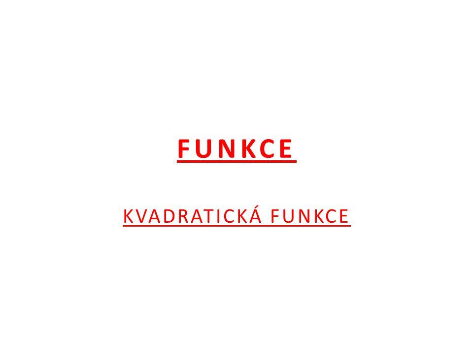FUNKCE KVADRATICKÁ FUNKCE