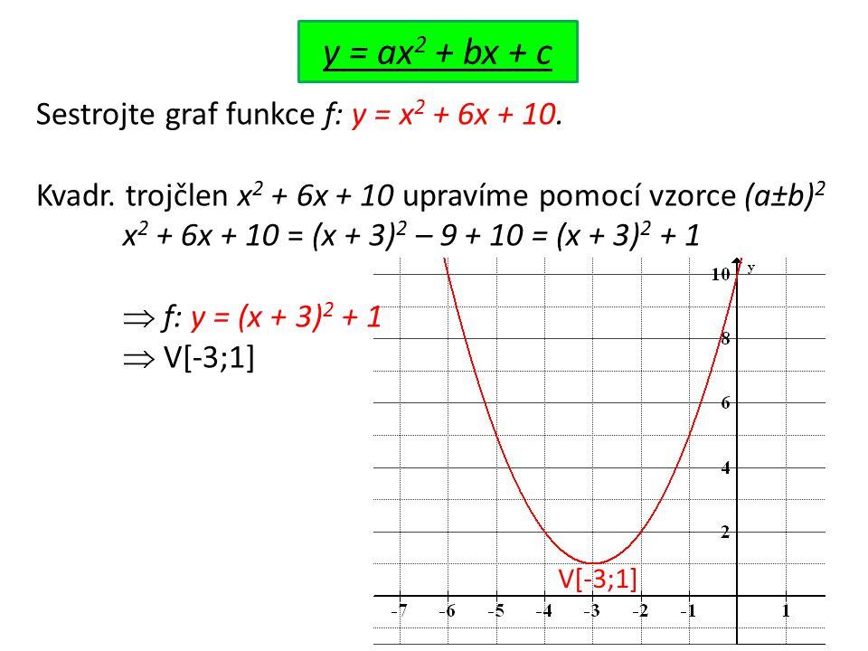 y = ax 2 + bx + c Sestrojte graf funkce f: y = x 2 + 6x + 10. Kvadr. trojčlen x 2 + 6x + 10 upravíme pomocí vzorce (a±b) 2 x 2 + 6x + 10 = (x + 3) 2 –