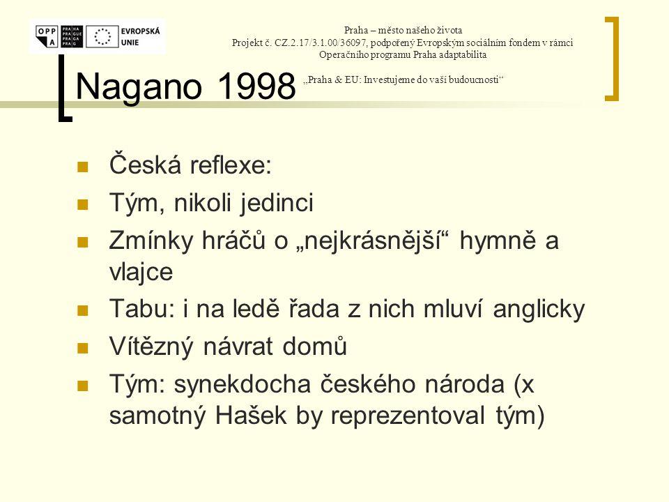 Nagano 1998 Vztah k mýtu Prahy.Jakými místy je prostor vyplněn.