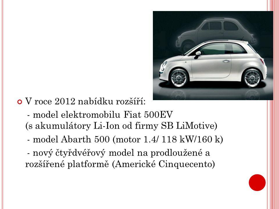 V roce 2012 nabídku rozšíří: - model elektromobilu Fiat 500EV (s akumulátory Li-Ion od firmy SB LiMotive) - model Abarth 500 (motor 1.4/ 118 kW/160 k)