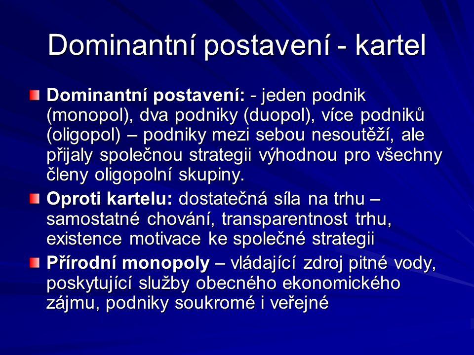 Dominantní postavení - kartel Dominantní postavení: - jeden podnik (monopol), dva podniky (duopol), více podniků (oligopol) – podniky mezi sebou nesou