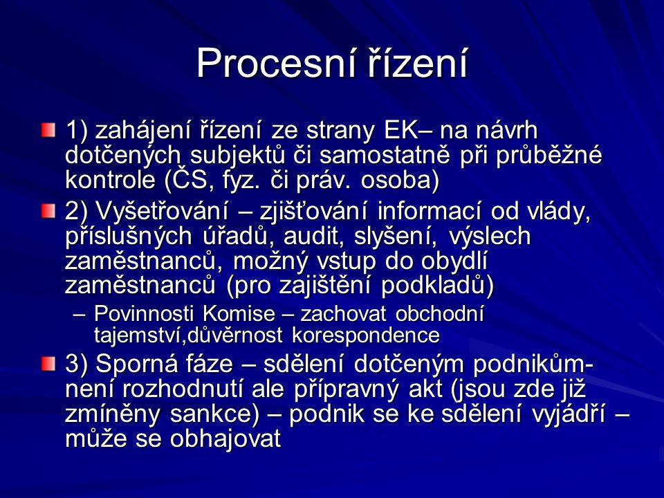 Procesní řízení 1) zahájení řízení ze strany EK– na návrh dotčených subjektů či samostatně při průběžné kontrole (ČS, fyz. či práv. osoba) 2) Vyšetřov