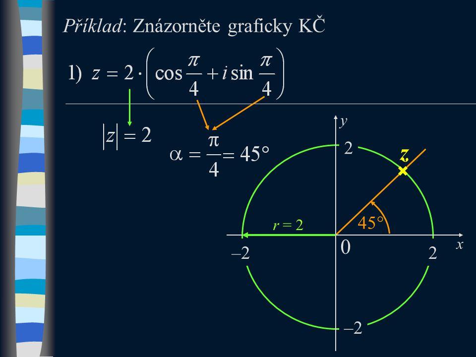 Příklad: Znázorněte graficky KČ z 45  2 2 –2 r = 2 x 0 y