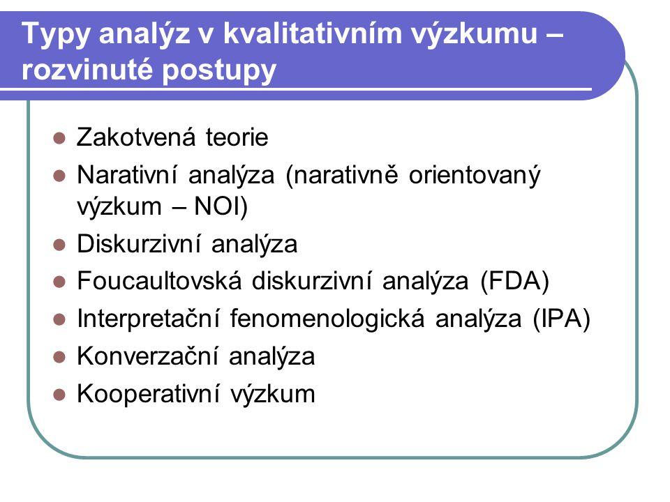 Typy analýz v kvalitativním výzkumu – rozvinuté postupy Zakotvená teorie Narativní analýza (narativně orientovaný výzkum – NOI) Diskurzivní analýza Fo