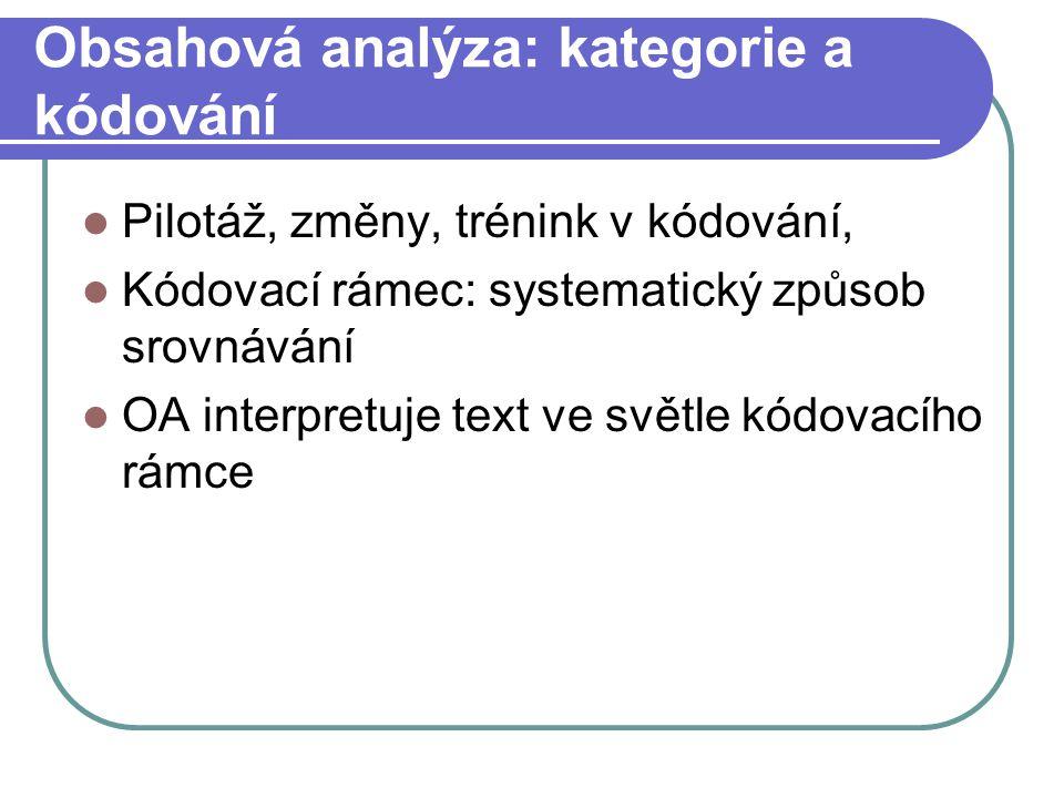 Obsahová analýza: kategorie a kódování Pilotáž, změny, trénink v kódování, Kódovací rámec: systematický způsob srovnávání OA interpretuje text ve svět