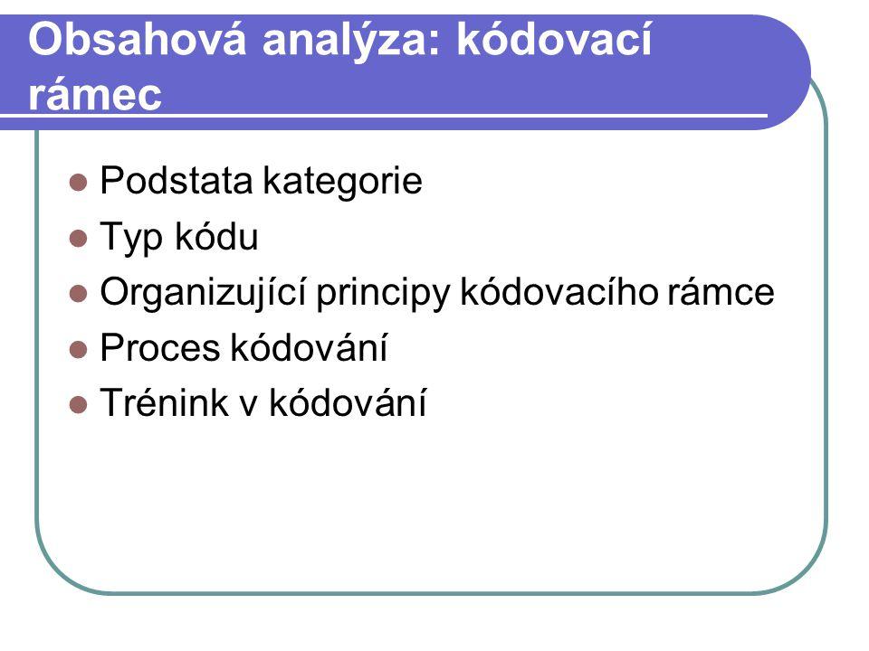 Obsahová analýza: kódovací rámec Podstata kategorie Typ kódu Organizující principy kódovacího rámce Proces kódování Trénink v kódování