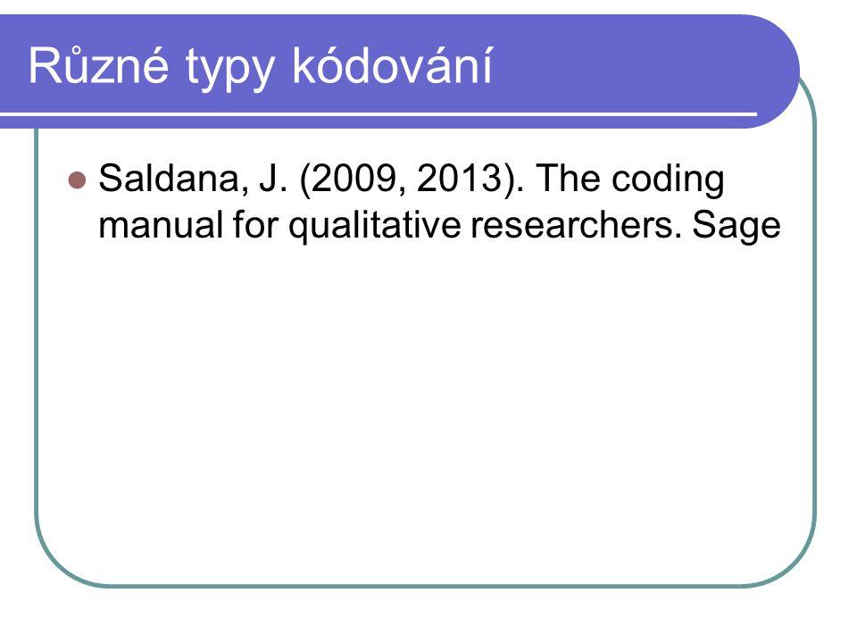 Různé typy kódování Saldana, J. (2009, 2013). The coding manual for qualitative researchers. Sage