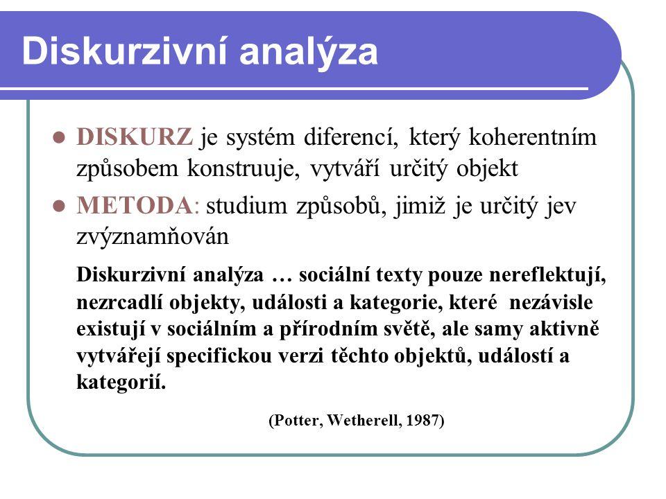 Diskurzivní analýza DISKURZ je systém diferencí, který koherentním způsobem konstruuje, vytváří určitý objekt METODA: studium způsobů, jimiž je určitý