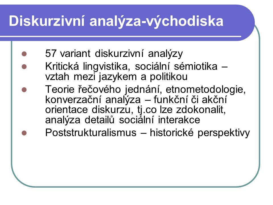 Diskurzivní analýza-východiska 57 variant diskurzivní analýzy Kritická lingvistika, sociální sémiotika – vztah mezi jazykem a politikou Teorie řečovéh