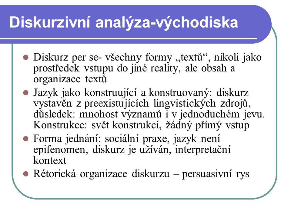 """Diskurzivní analýza-východiska Diskurz per se- všechny formy """"textů"""", nikoli jako prostředek vstupu do jiné reality, ale obsah a organizace textů Jazy"""