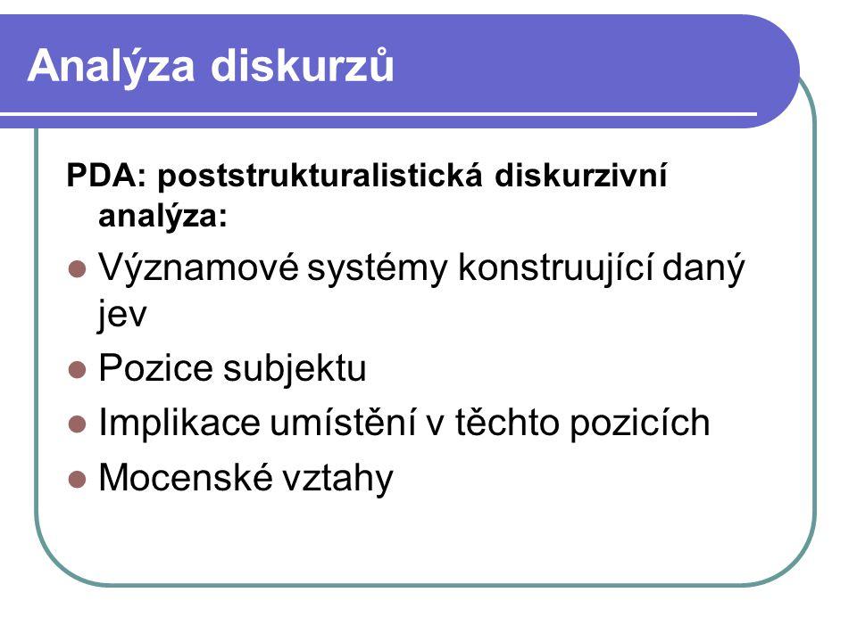 Analýza diskurzů PDA: poststrukturalistická diskurzivní analýza: Významové systémy konstruující daný jev Pozice subjektu Implikace umístění v těchto p