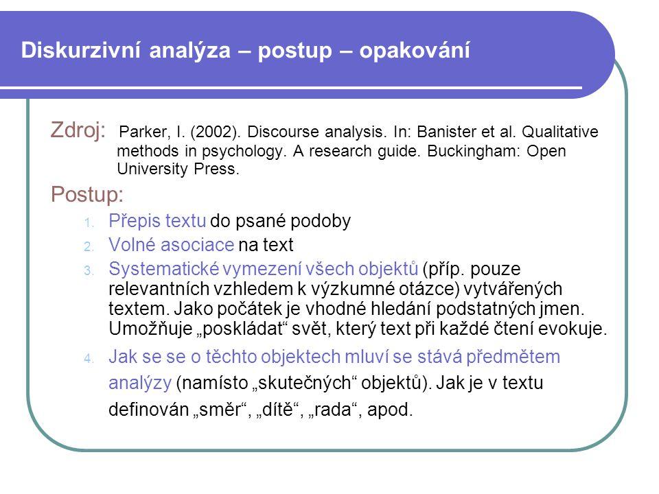 Diskurzivní analýza – postup – opakování Zdroj: Parker, I. (2002). Discourse analysis. In: Banister et al. Qualitative methods in psychology. A resear