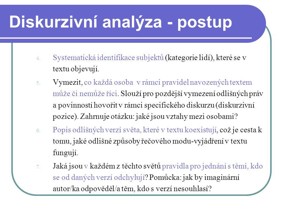 Diskurzivní analýza - postup 4. Systematická identifikace subjektů (kategorie lidí), které se v textu objevují. 5. Vymezit, co každá osoba v rámci pra