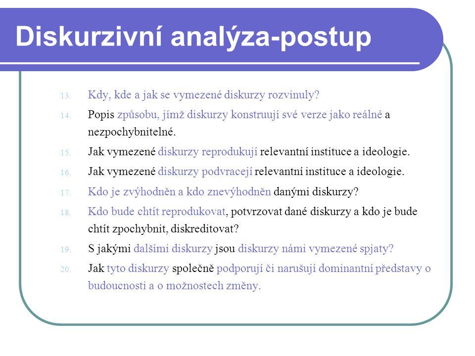 Diskurzivní analýza-postup 13. Kdy, kde a jak se vymezené diskurzy rozvinuly? 14. Popis způsobu, jímž diskurzy konstruují své verze jako reálné a nezp