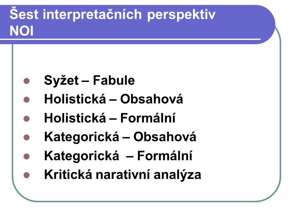 Šest interpretačních perspektiv NOI Syžet – Fabule Holistická – Obsahová Holistická – Formální Kategorická – Obsahová Kategorická – Formální Kritická